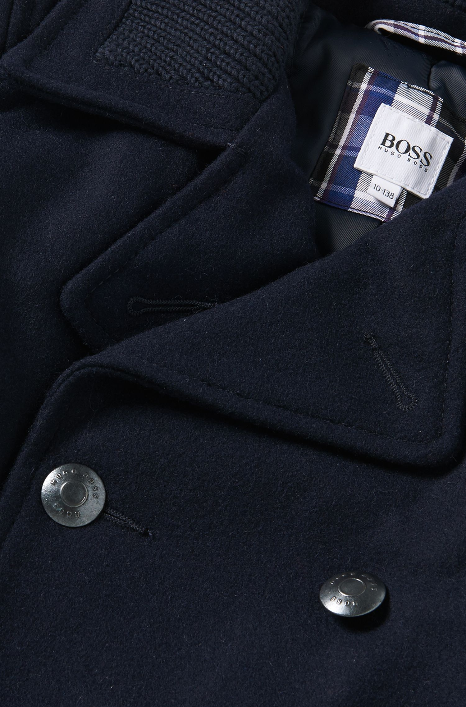 'J26257' | Boys Wool Pea Coat, Dark Blue