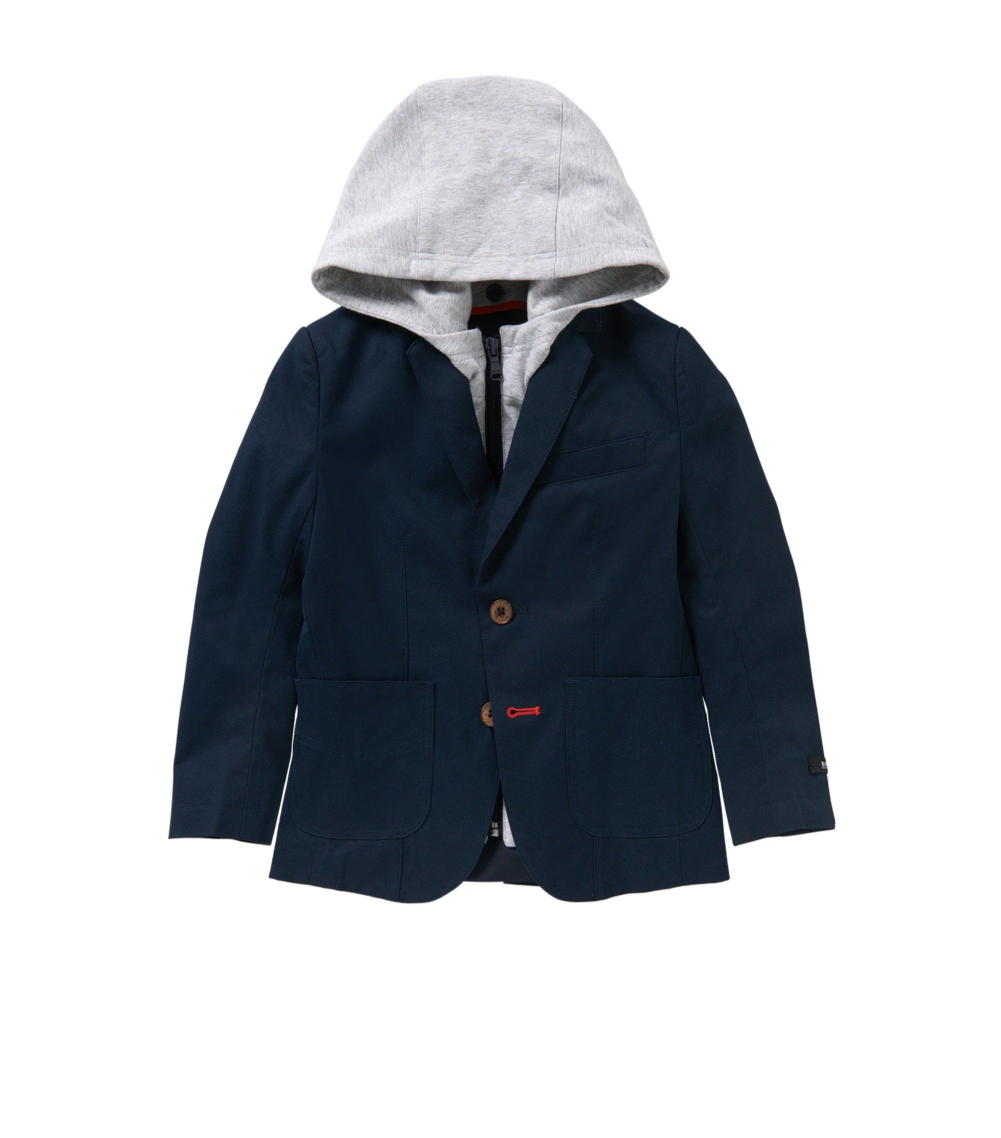 'J26276'   Boys Suit Jacket, Removable Hood, Dark Blue