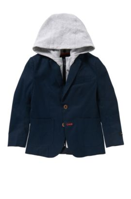 'J26276' | Boys Suit Jacket, Removable Hood, Dark Blue