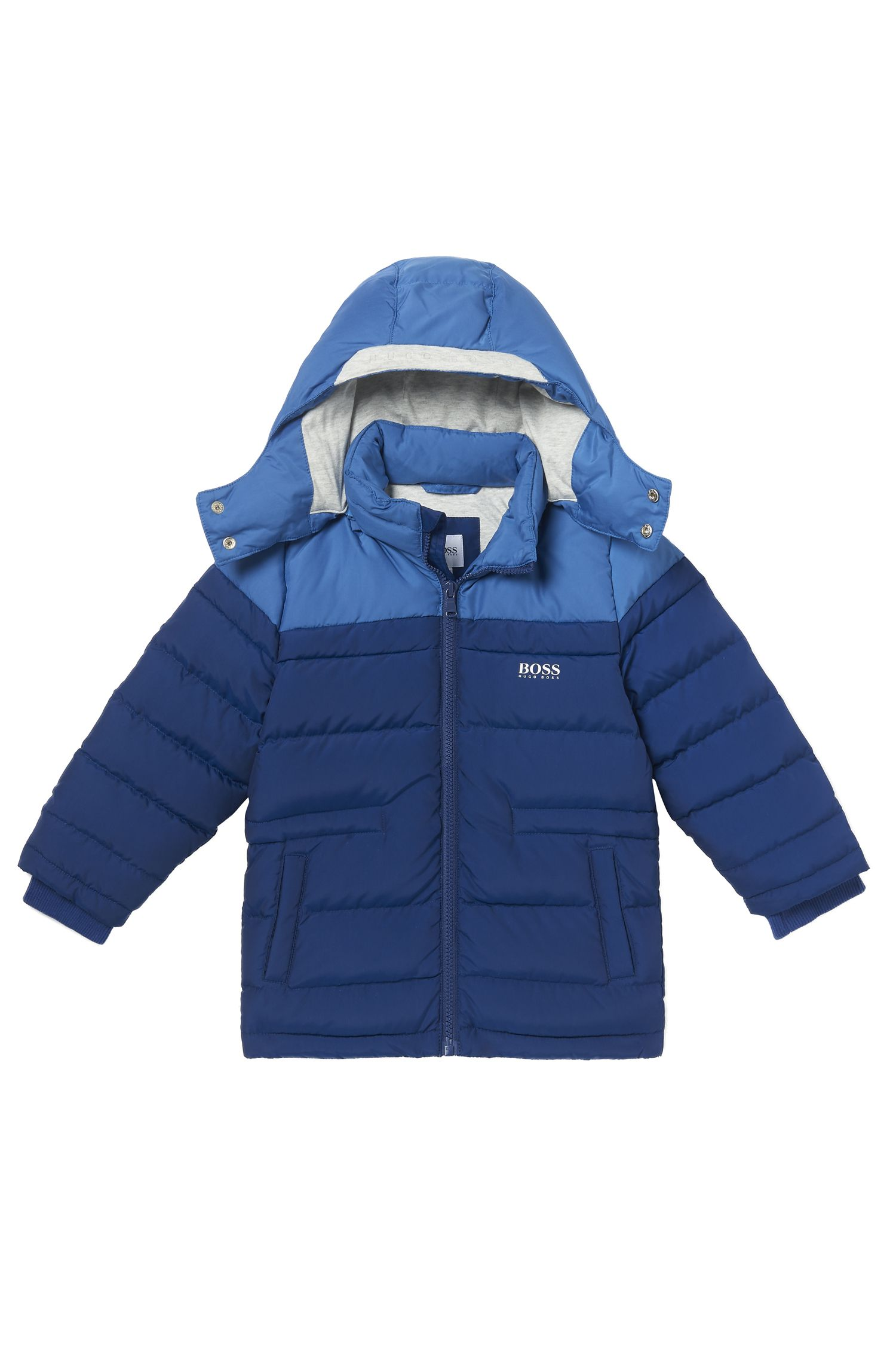 'J26285' | Boys Nylon Quilted Puffer Coat, Removable Hood