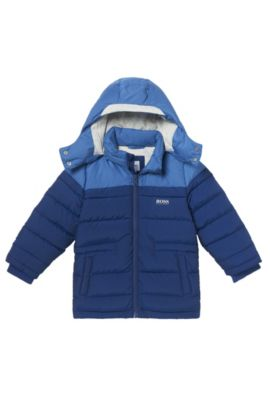 'J26285' | Boys Nylon Quilted Puffer Coat, Removable Hood, Dark Blue