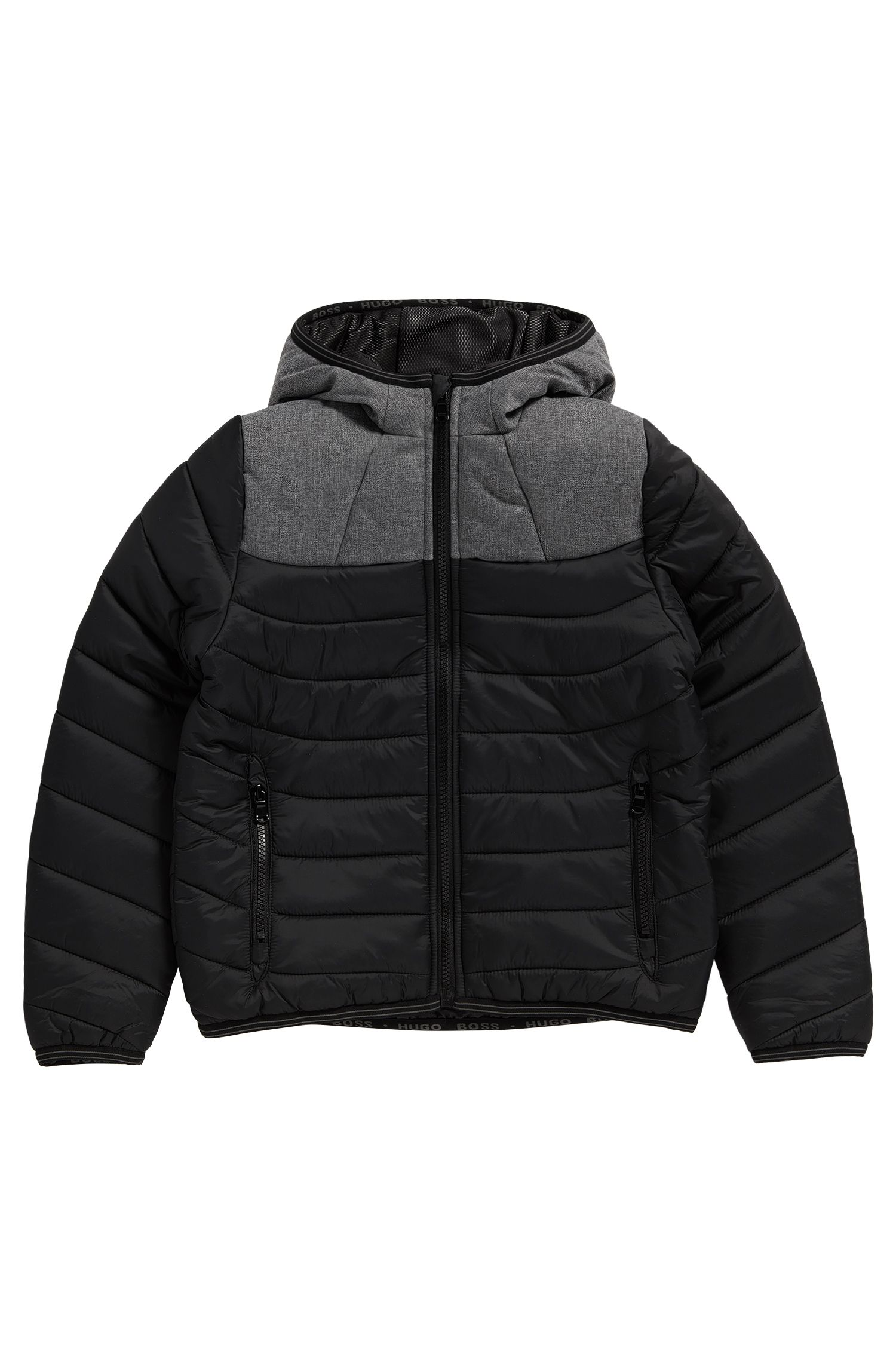'J26286' | Boys Nylon Quilted Jacket, Attached Hood