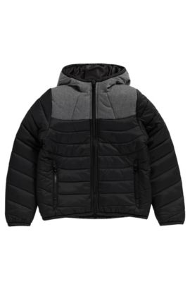 'J26286' | Boys Nylon Quilted Jacket, Attached Hood, Black