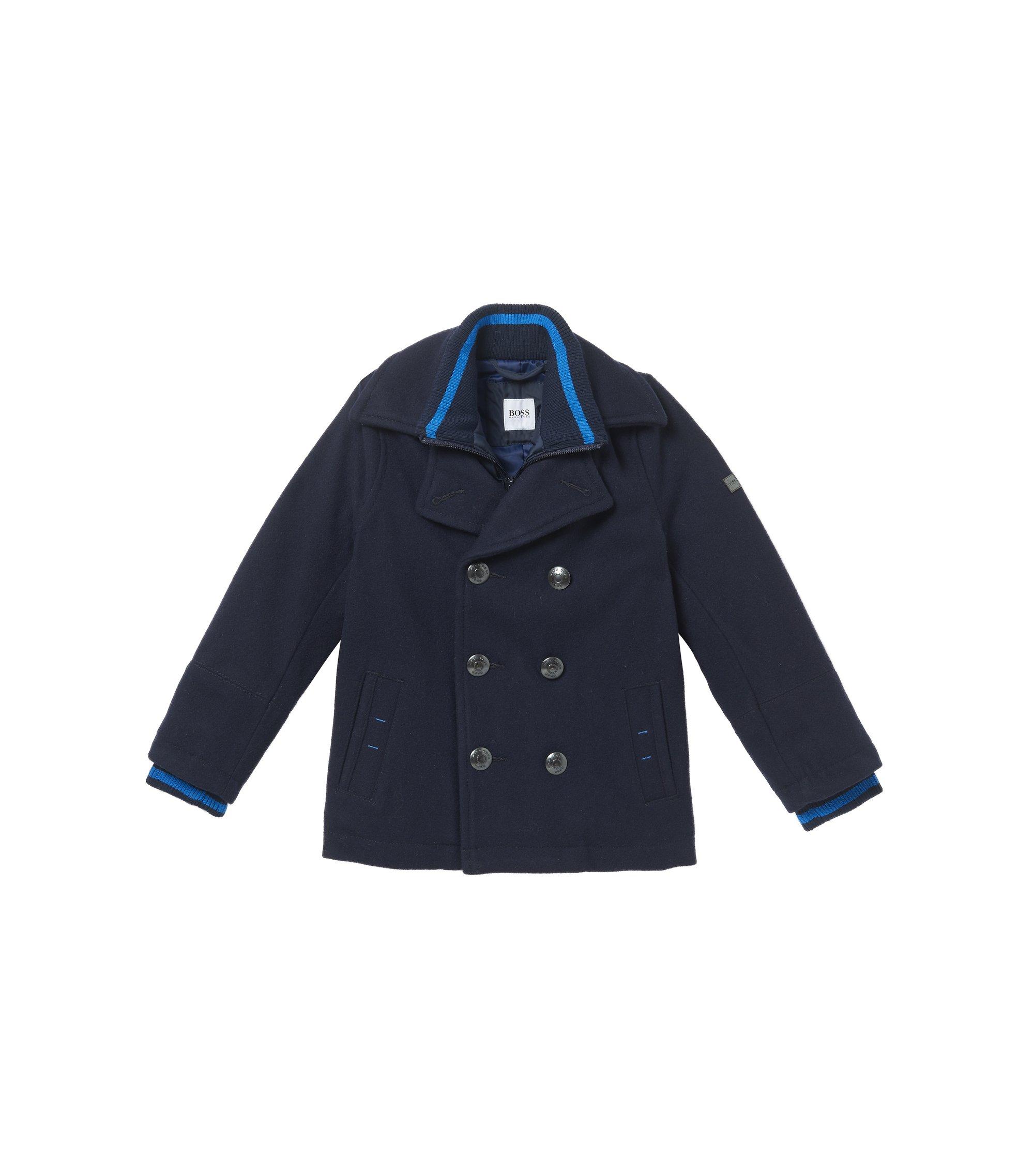 'J26287' | Boys Layered Pea Coat, Dark Blue