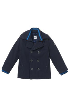 'J26287' | Boys Layered Pea Coat, Dark Blue