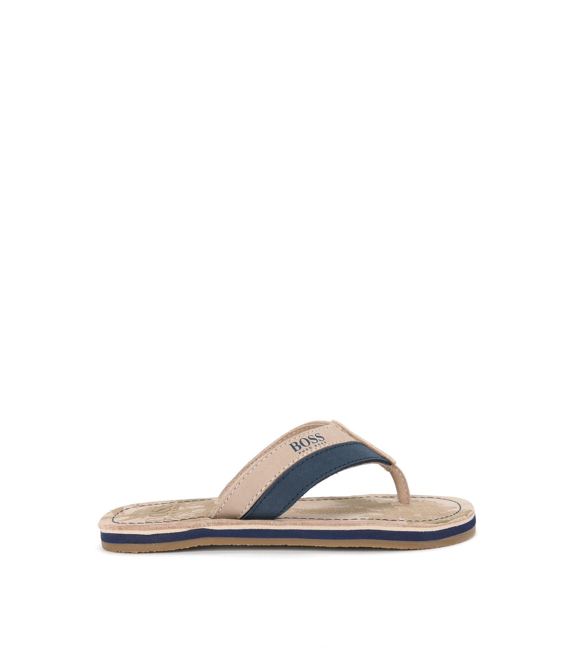 'J29111' | Boys Leather Thong Sandals, Beige