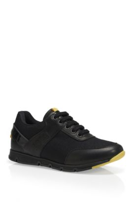 'J29113' | Boys Leather Sneakers, Black