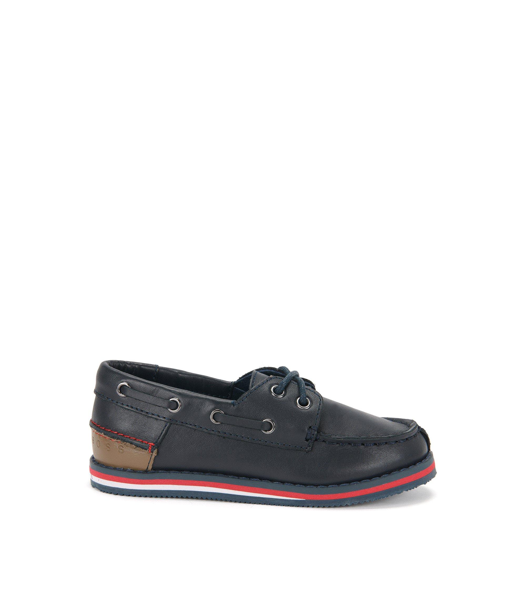 'J29116' | Boys Leather Boat Shoes, Dark Blue