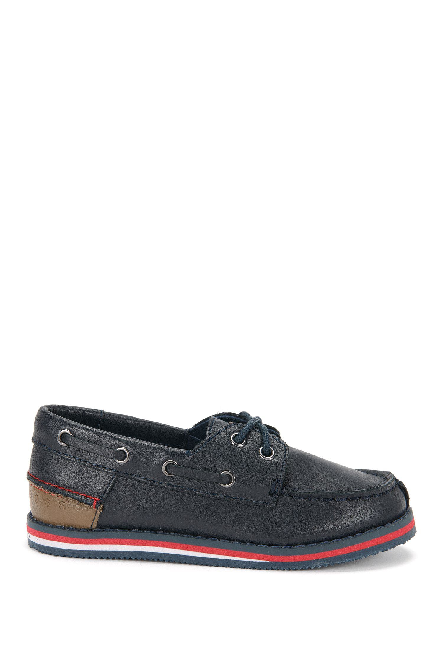 'J29116'   Boys Leather Boat Shoes, Dark Blue