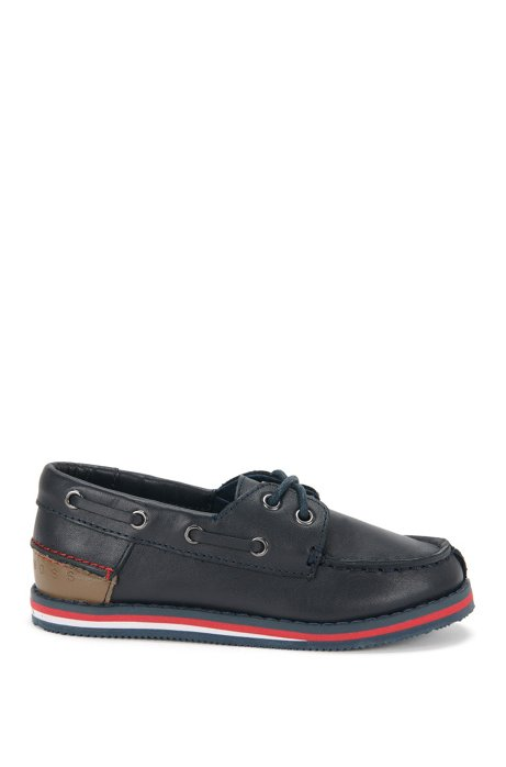 'J29116' | Boys Leather Boat Shoes, Dark Blue