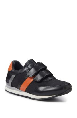 'J29120' | Boys Leather Sneaker , Black