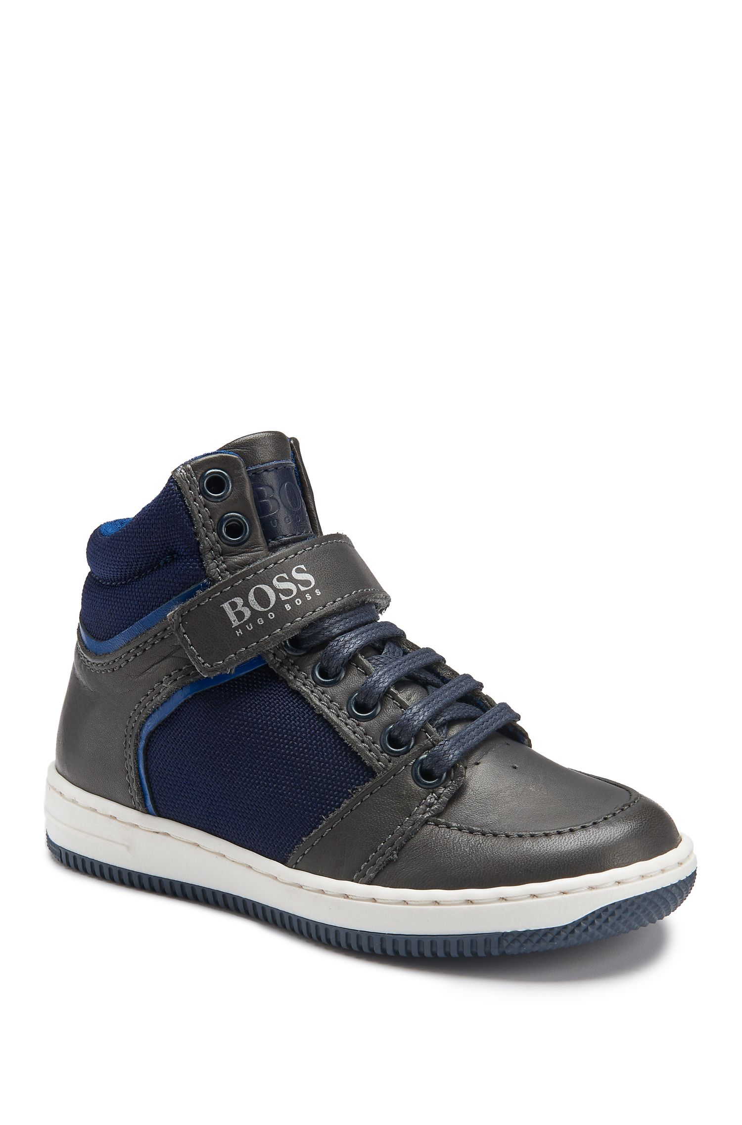 Kids' High Top Leather Sneakers | J29123, Dark Blue