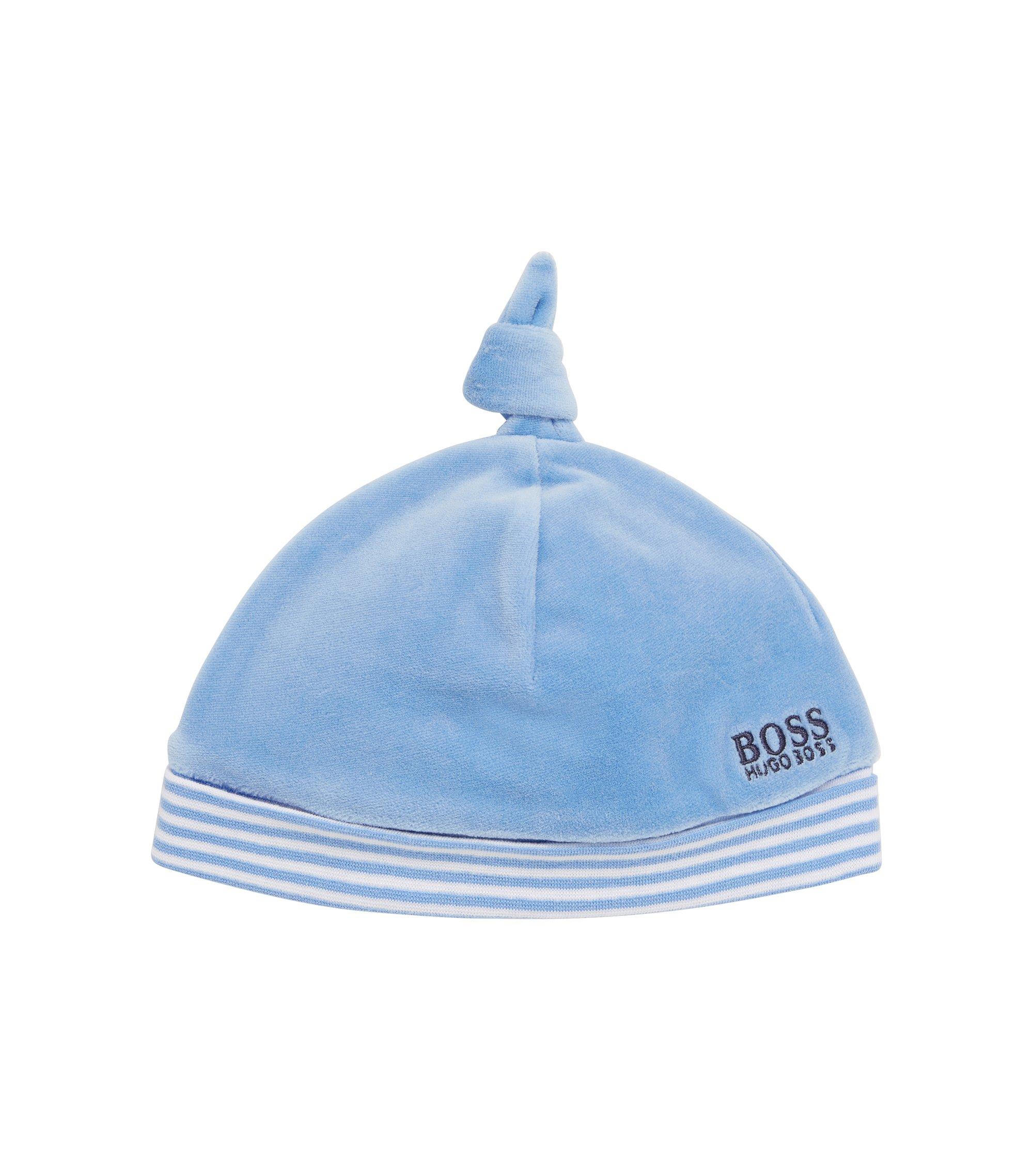 'J91070' | Newborn Cotton Velvet Birth Hat, Light Blue
