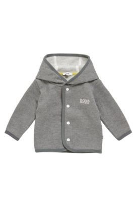'J95212' | Stretch Cotton Hooded Sweatshirt Jacket, Grey