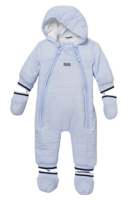 'J96042' | Newborn Nylon Blend Snowsuit, Light Blue