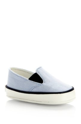 'J99044' | Newborn Canvas Slip-Ons, Light Blue