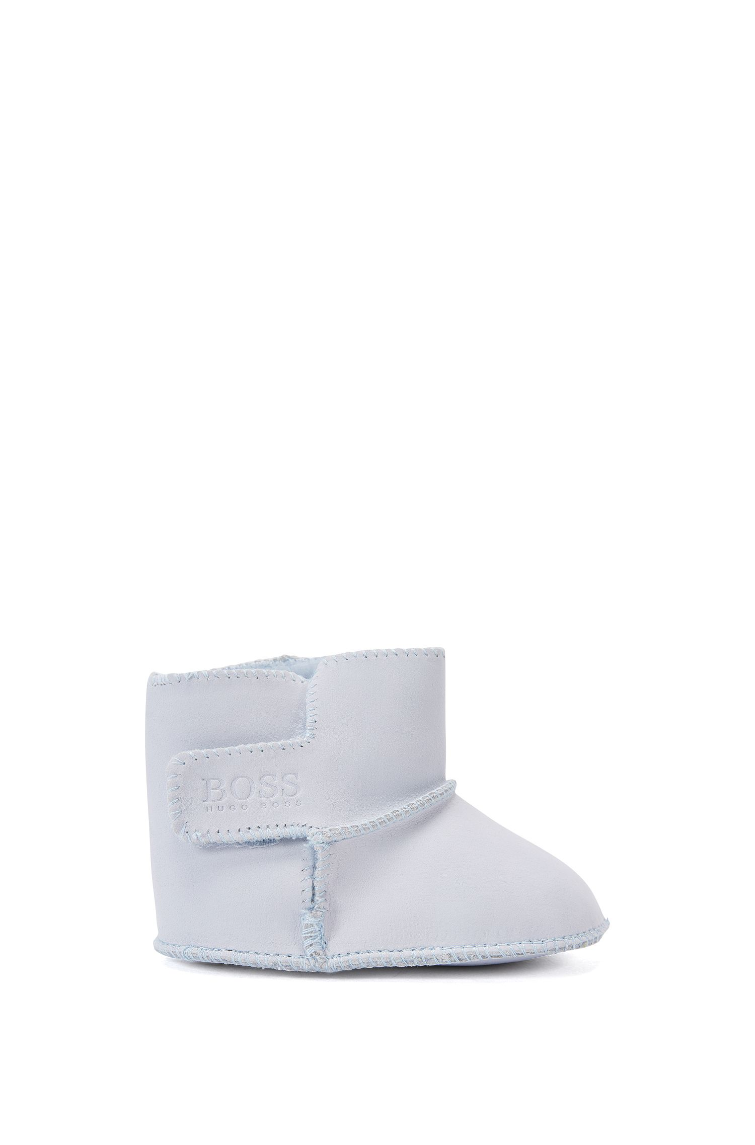 'J99048' | Newborn Cotton Booties, Light Blue