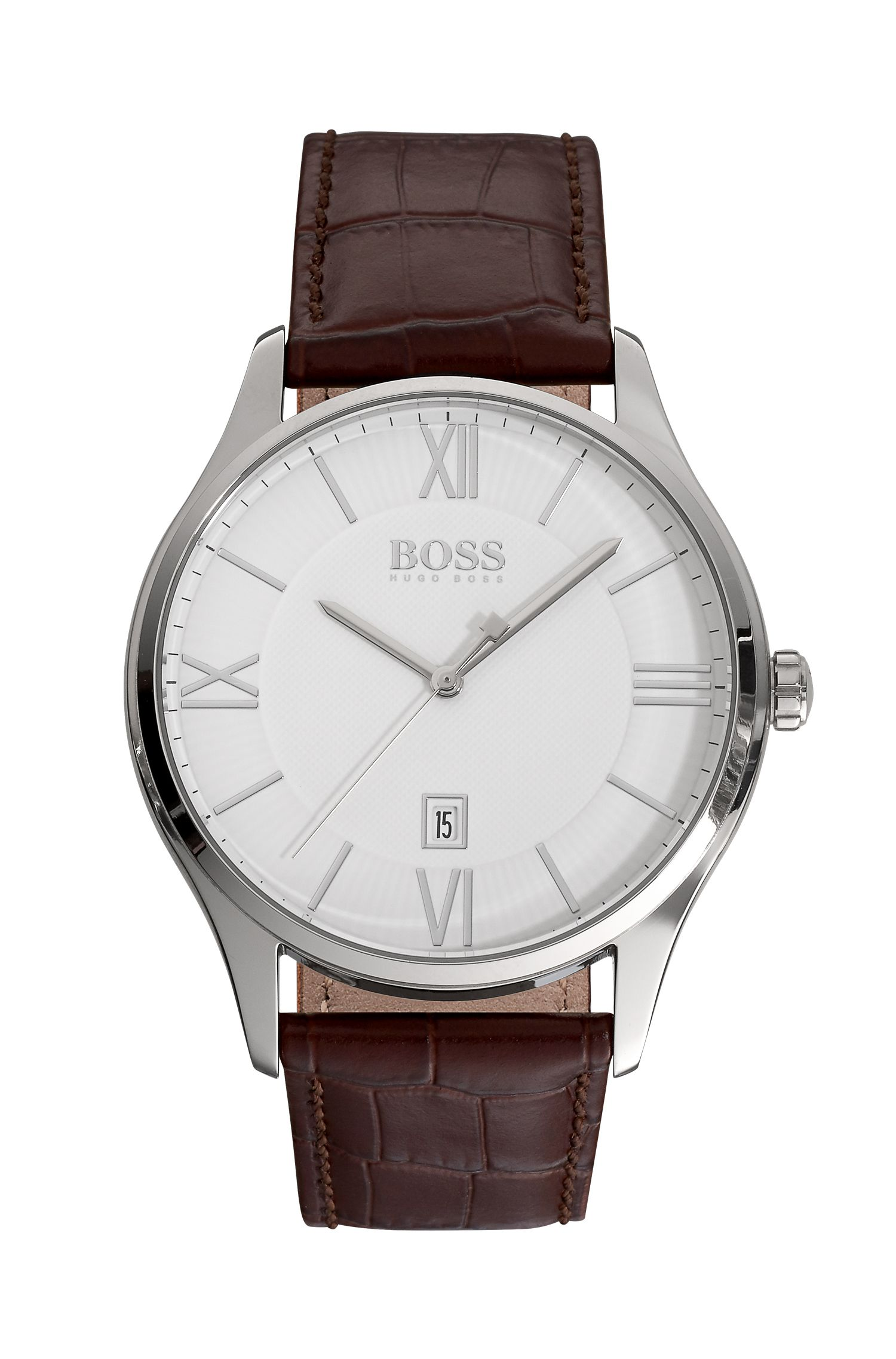 White Dial Watch With Brown Leather Strap | Governor, Assorted-Pre-Pack